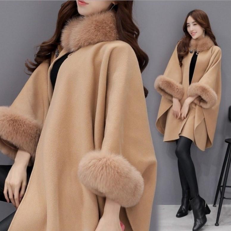 现货冬装新款韩版狐狸毛领中长款羊毛呢子大衣气质斗篷披肩外套女