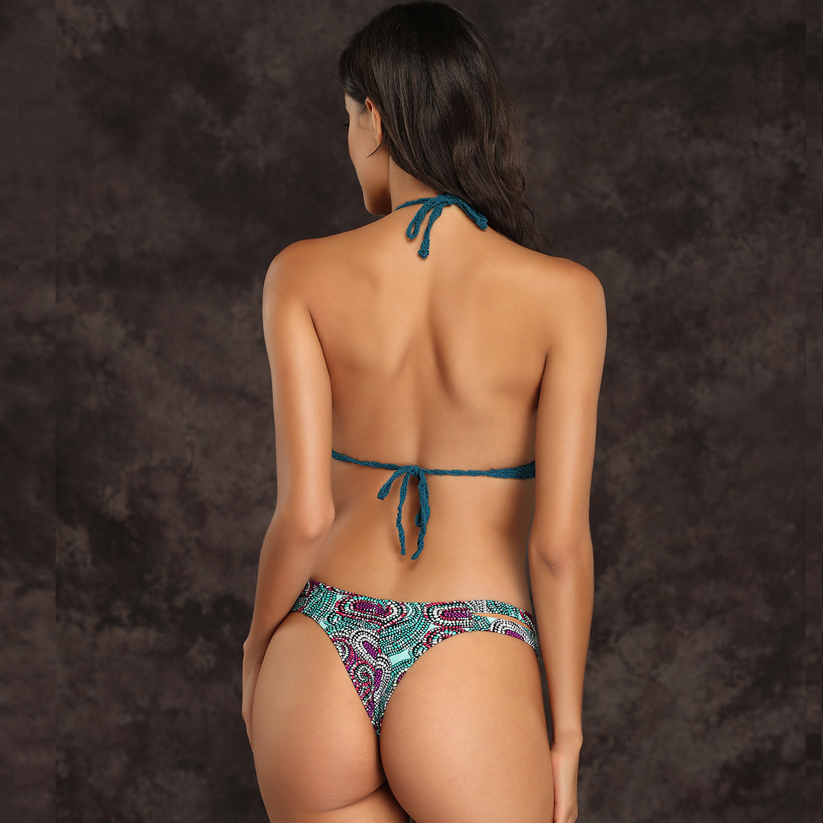 New swimsuit knitted sexy dark green cashew print ladies split bikini swimsuit NHHL206300