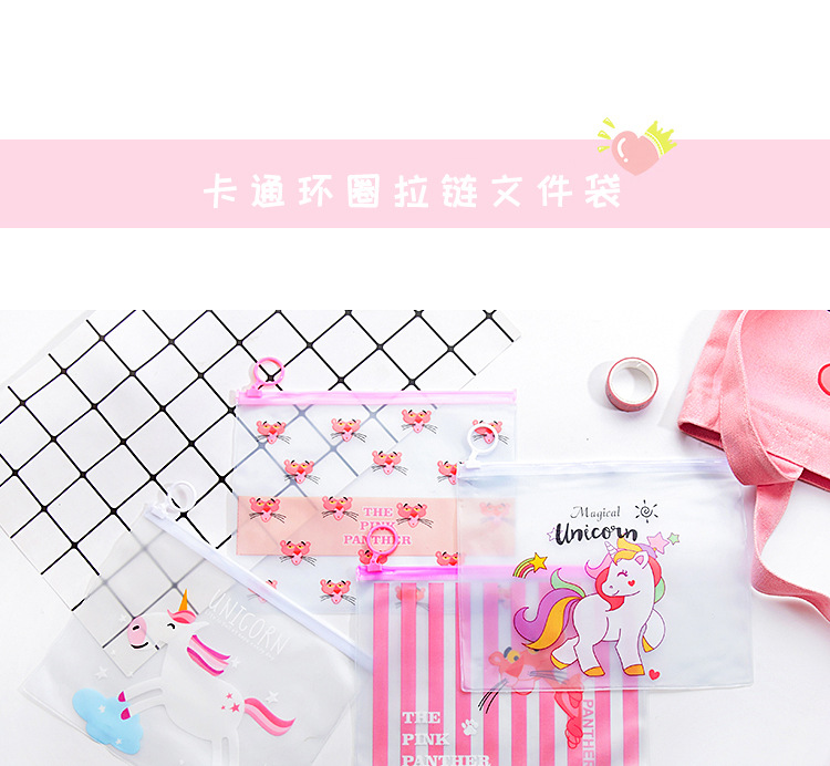 Transparent cute cartoon girl heart ring file bag NHHE130244