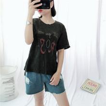 【泰蜜儿】夏季新款短袖韩版套头大码棉质宽松T恤印花清凉女批发