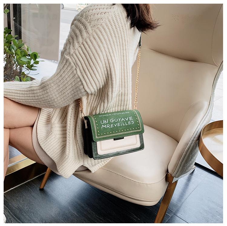 Retro Matte Contrast Shoulder Bag New Fashion Wide Shoulder Studded Letter Messenger Small Square Bag NHPB196975