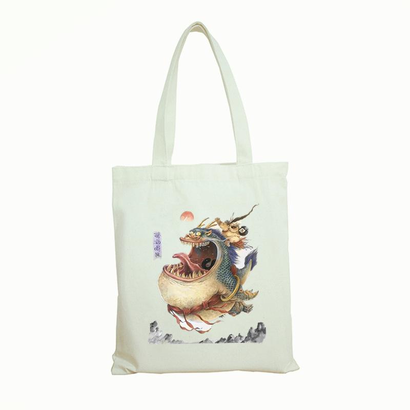 卡通中国风帆布袋棉布手提袋现货定制 图片文字都可印刷 1个起发