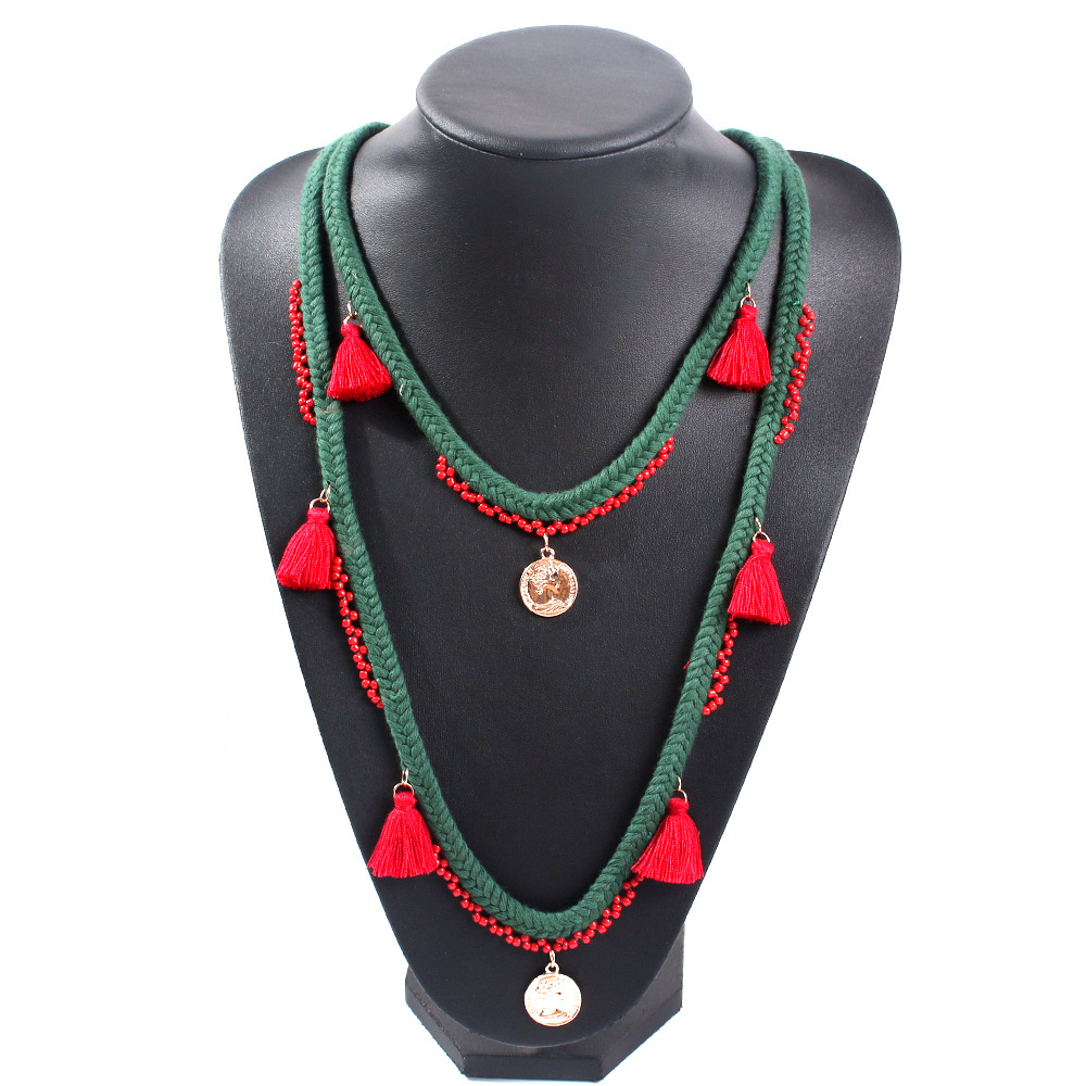 Ethnic style color braided rope sweater chain tassel inlaid rice beads necklace NHMD171443