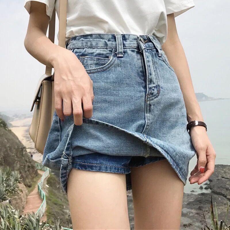 一件代发夏女2019新款胖mm200斤牛仔短裙防走光裙裤a字高腰包臀裙