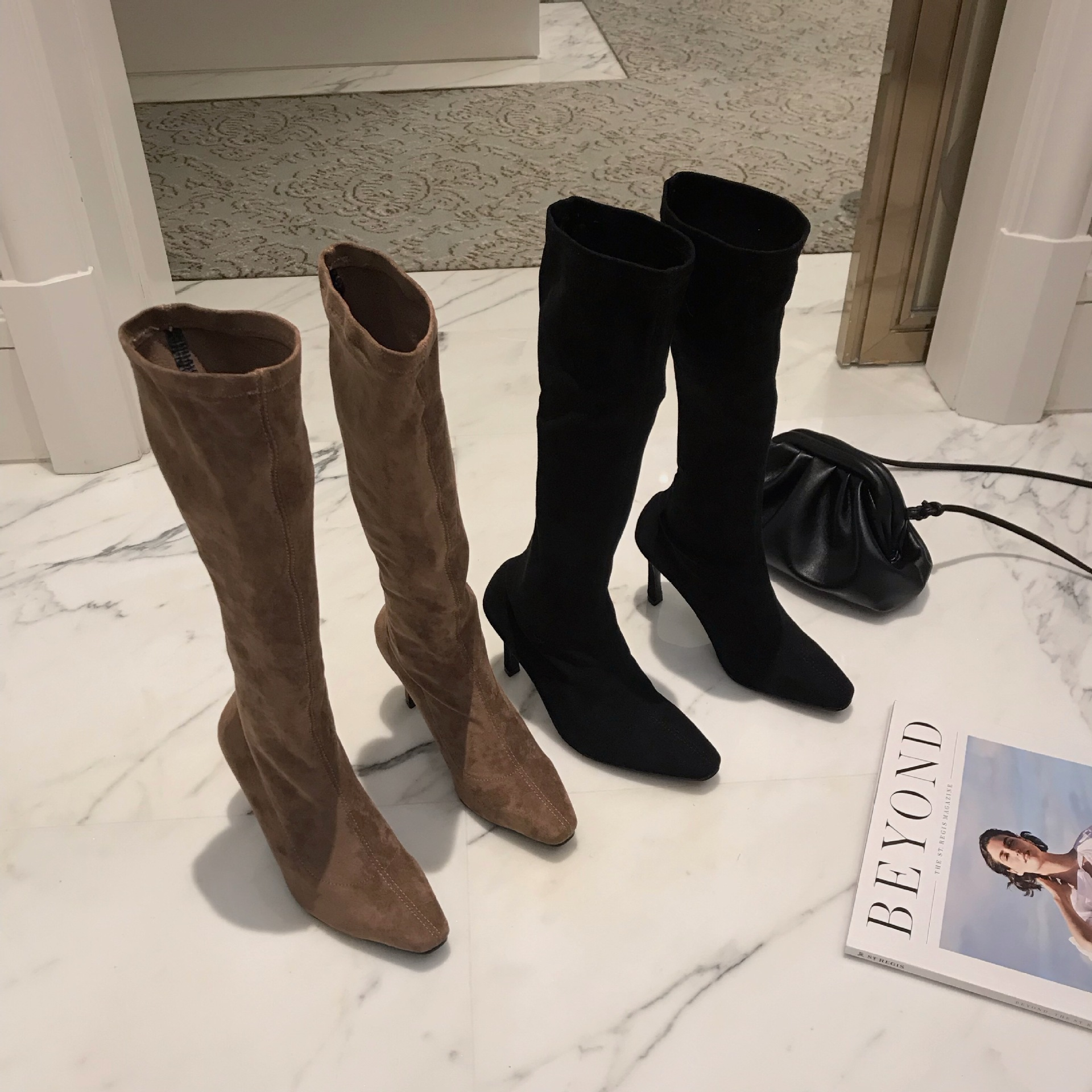 Winter new boots, high heel, small square head, a pedal, fashion, elastic, thin boots, female NHHU180043