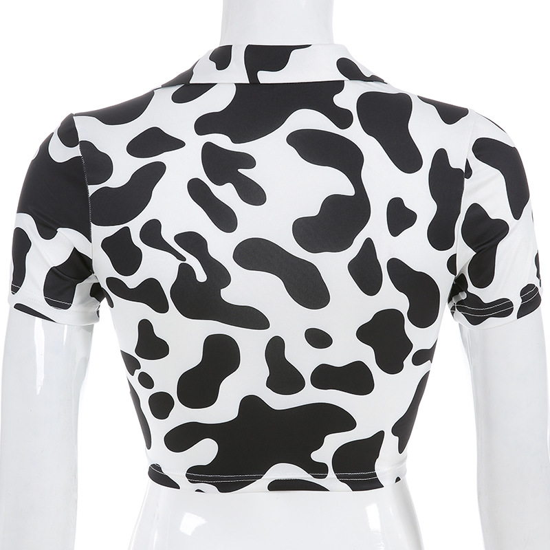 10362990768 1045645777 - Dairy Cow Print Sexy Two Piece Set 2 Piece Set Women Two Piece Outfits Crop Top And Skirt Set Streetwear Bodycon Matching Sets
