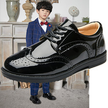 男童皮鞋黑色英伦风布洛克绅士鞋系带儿童校园黑色学生单鞋女童鞋