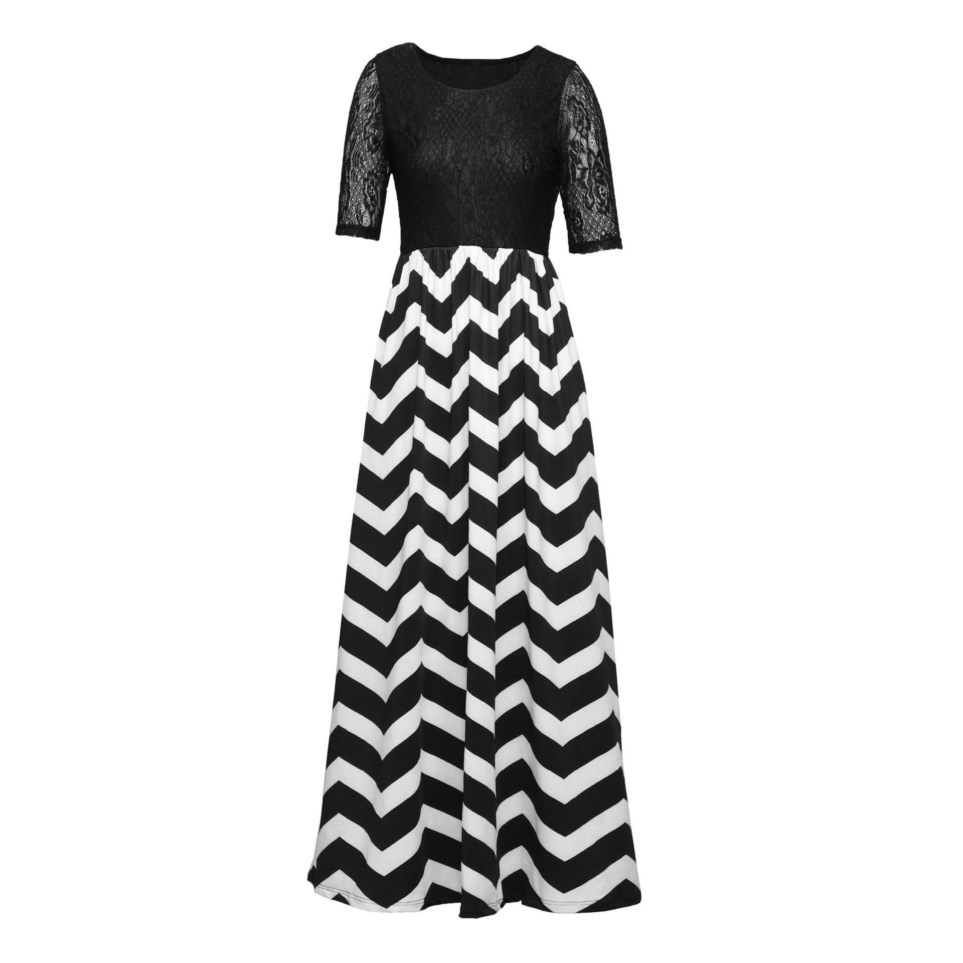 2019wish欧洲站秋季新款黑白条纹蕾丝拼接圆领中袖长款连衣沙滩裙