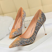 9236-3 European and American sexy banquet high heels show thin metal thin heels high heels light mouth pointed head color matching Sequin single shoes