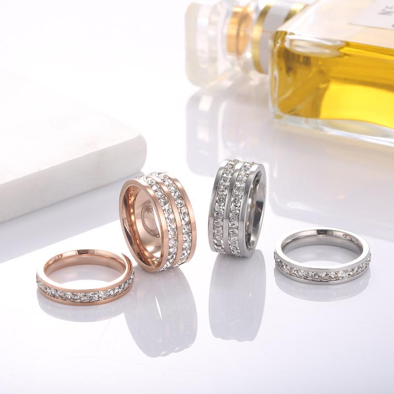 厂家批发韩版单双排钻钛钢对戒 情侣周圈石满钻不锈钢戒指玫瑰金