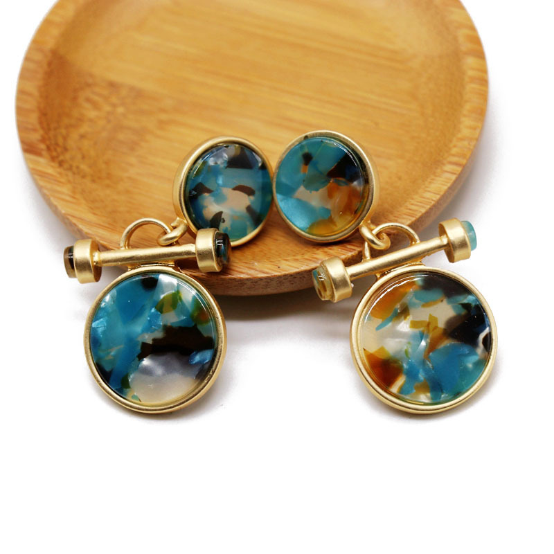Round colored resin stud earrings wholesales fashion NHOM183917
