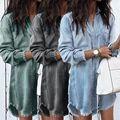 跨境wish亚马逊ebay欧美女装大码宽松中长款流苏女士牛仔衬衫女