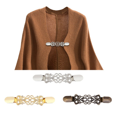 2pcs Gold Silver Color cardigan shawl Duck Clips for women girls Flexible Beaded Pearl Pin Brooch silk scarf Shirt Sweater Cardigan Collar Clip Buckles Clothing