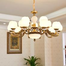 古銅色歐式客廳吊燈家用簡約餐廳臥室復古美式蠟燭燈復古led燈具