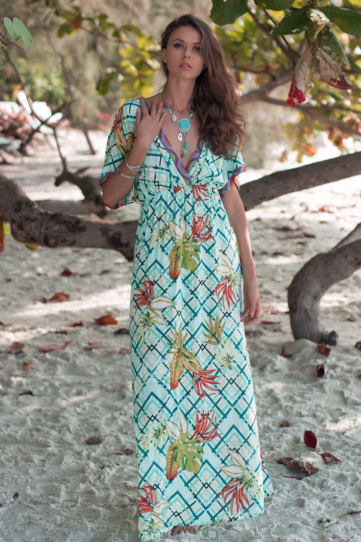 spring and summer new wholesale deep V neck raglan sleeves printed bat sleeve waist dress NSDF1331