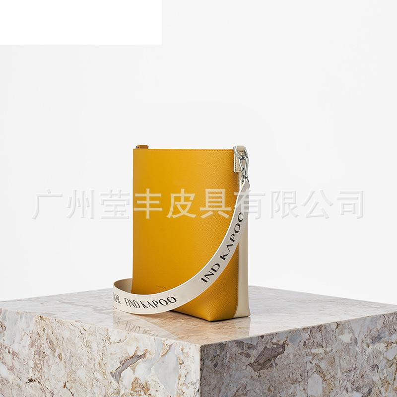 韩国新款 梵得咔普尔时尚女包单肩斜挎包女士方邮差包FKR 拼亮黄