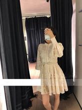 19年夏新款ZIMM蕾丝复古花纹刺绣收腰显瘦泡泡袖镂空立领连衣裙