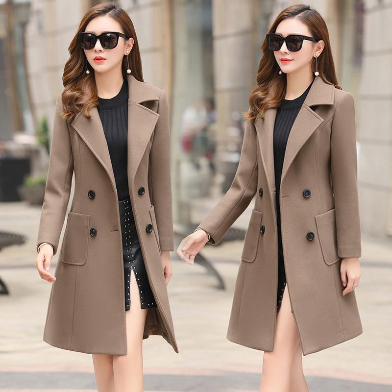 Women's Slim Mid-length Woolen Jacket With Waist