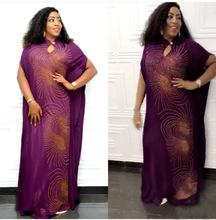 跨境貨源小立領旋風形個性燙鉆時尚寬松連衣裙非洲女裝長裙
