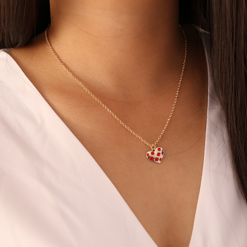 simple heart red pepper lip pendent alloy necklace  NHBW370642