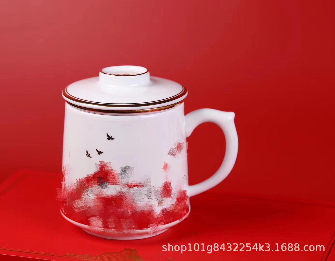 景德镇陶瓷厂家批量定制陶瓷水杯建国大阅兵纪念礼品过滤茶杯礼品