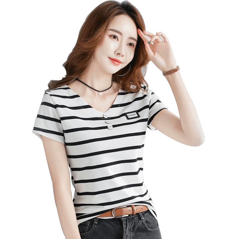 2442 الصيف الجديدة النسخة الكورية قصيرة الأكمام تي شيرت الإناث قميص ساحات كبيرة السيدات القطن 95 ٪ أعلى زر الخامس الرقبة تي شيرت بالجملة