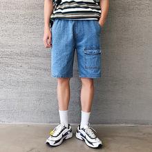 韩版原创夏季男士港风水洗直筒牛仔短裤 韩式青年百搭五分牛仔裤