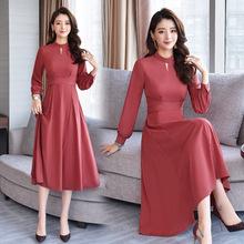 長袖連衣裙中長款2019春季女裝新款修身收腰氣質復古法式過膝長裙