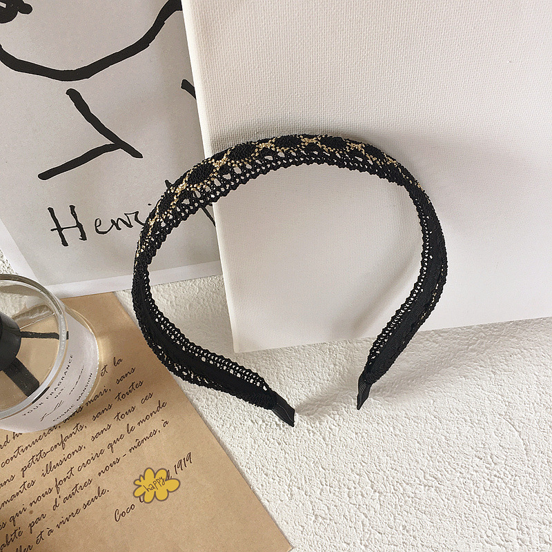 New wild retro black and white lace lace simple hair hoop head buckle hairpin hair accessories headdress NHHI201244