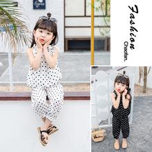 2019夏装女童宝宝圆点套装韩版时尚?#34892;?#31461;无袖上衣+防蚊裤两件套