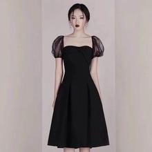 泰國潮牌時尚名媛禮服小黑裙蕾絲短袖方領收腰修身黑色小眾連衣裙