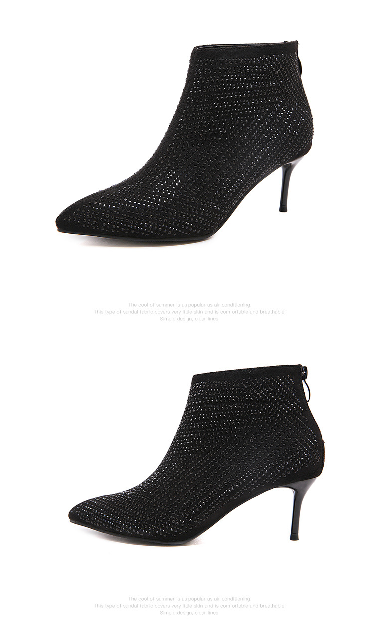 European and American sexy rhinestone pointed high-heeled ankle boots NHSO157364