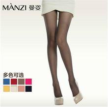 曼姿6137超薄10D彩色春夏季性感丝袜隐形连裤袜防勾丝包芯丝