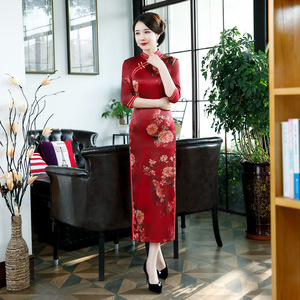 Show cheongsam long performance dress red wedding cheongsam ress with large size Robes chinoises