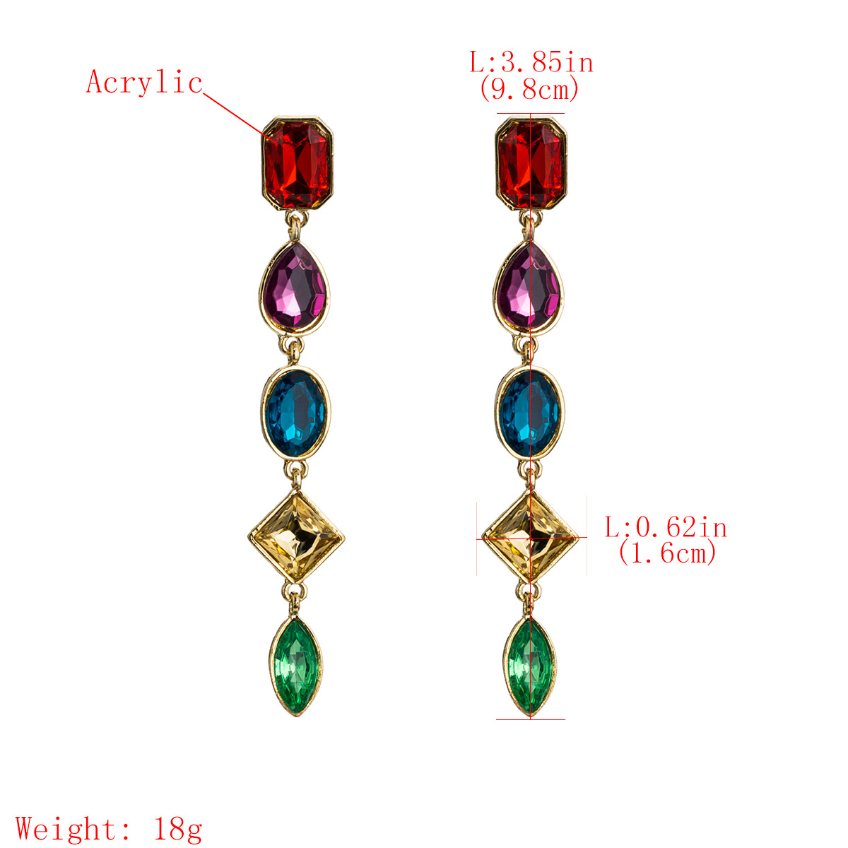 Acrylic Fashion Geometric earring  (Red color)  Fashion Jewelry NHJE2670-Red-color