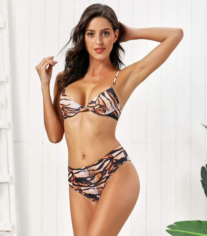 New Hot Sale Women's Split High Waist Underwire Tiger Skin Print Bikini Swimsuit NHHL198835