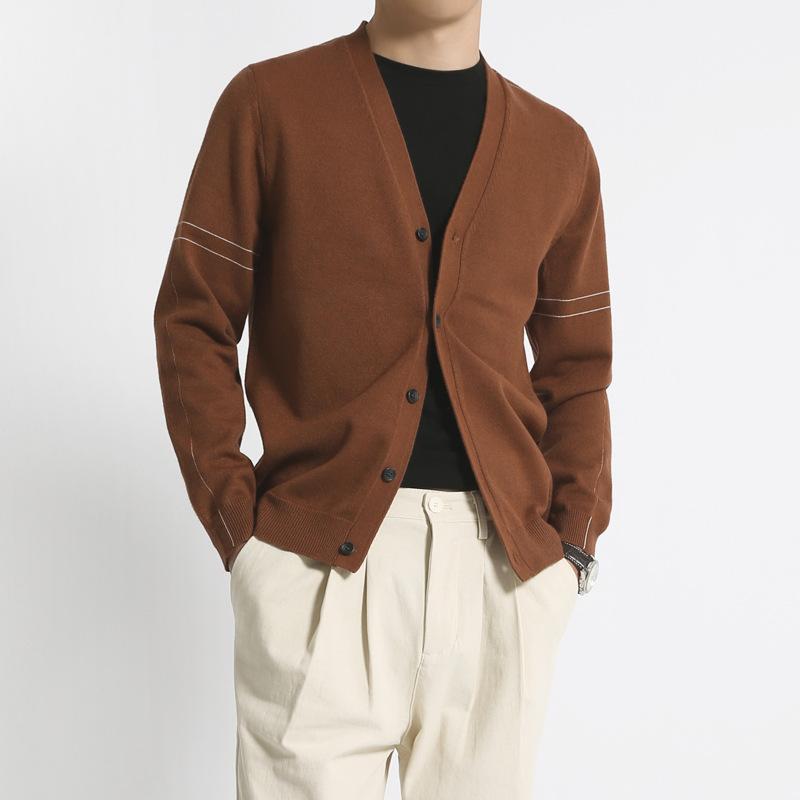 日系宽松开衫男 新款毛衣男士薄款V领针织衫纯色潮流长袖外套春款
