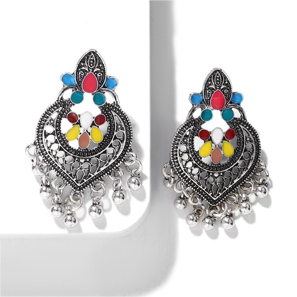 Ethnic style alloy heart tassel earrings fashion creative earrings retro clothing jewelry accessories NHJQ176172
