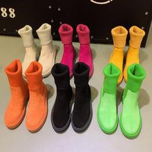 糖果色毛线筒小短靴19秋冬广州真皮马丁靴厚底时尚防滑瘦瘦靴女潮