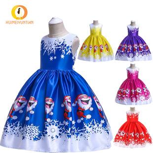 European and American new children's dress Christmas costume girls print dress princess dress performance dress ebay wholesale
