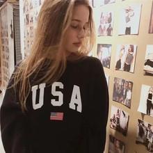 【四君子】秋冬圈棉宽松大码套头上衣字母USA复古印花卫衣女上衣