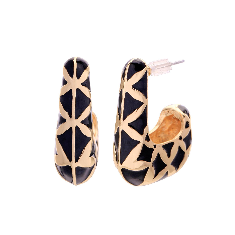 Fashion personality Geometric Drop Oil Alloy Earrings NHQD122146