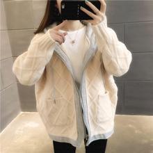 2019秋冬OL氣質韓版棉麻開衫連帽寬松型女式針織衫一手貨源