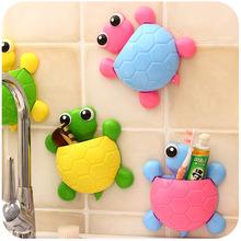 小烏龜造型牙膏牙刷架吸壁式可愛卡通強力吸盤牙具收納架子吸卡裝