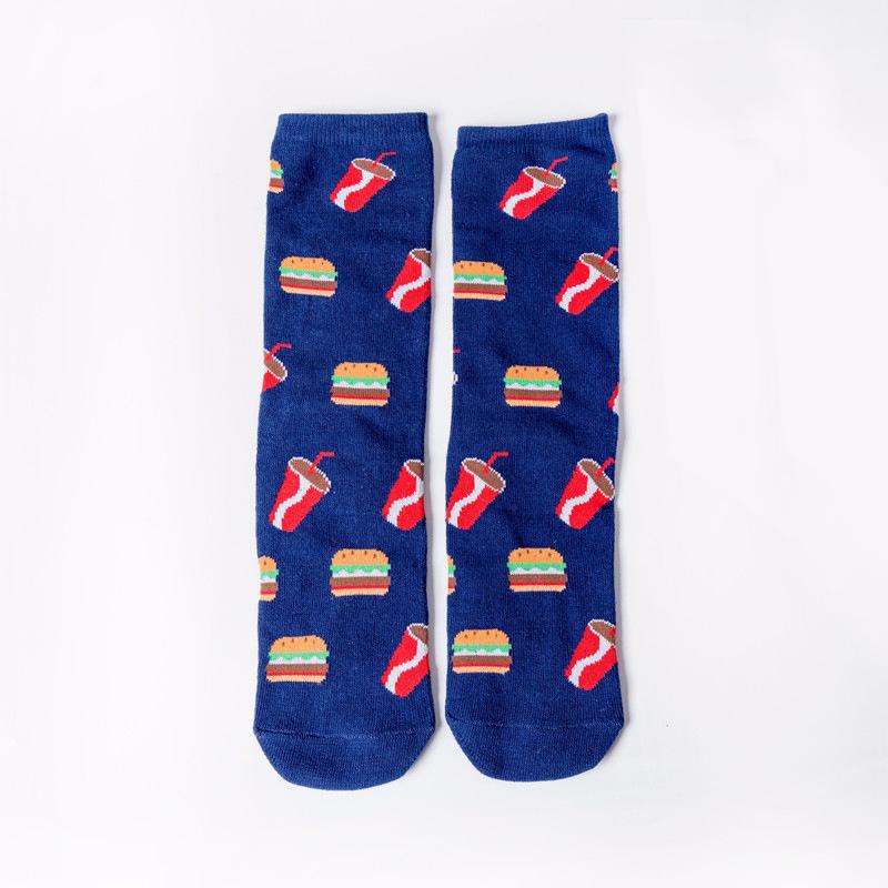 水果牛油果曲奇鸡蛋拼色全棉中筒女袜外贸袜子跨境速卖通爆款袜子