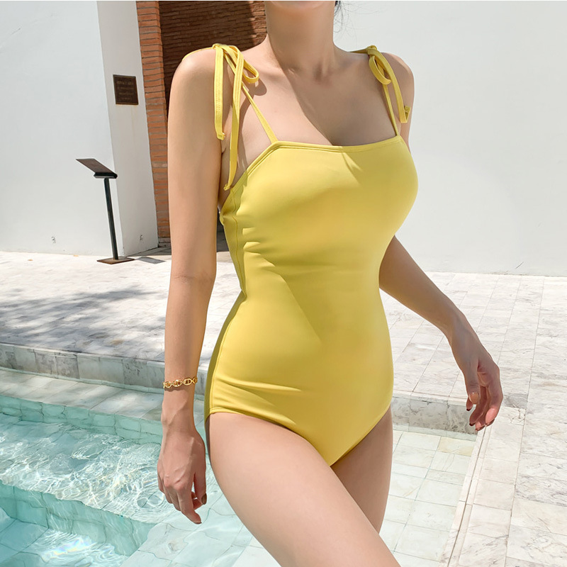 New conjoined triangle sweet cover belly yellow slimming swimsuit women NHHL198782