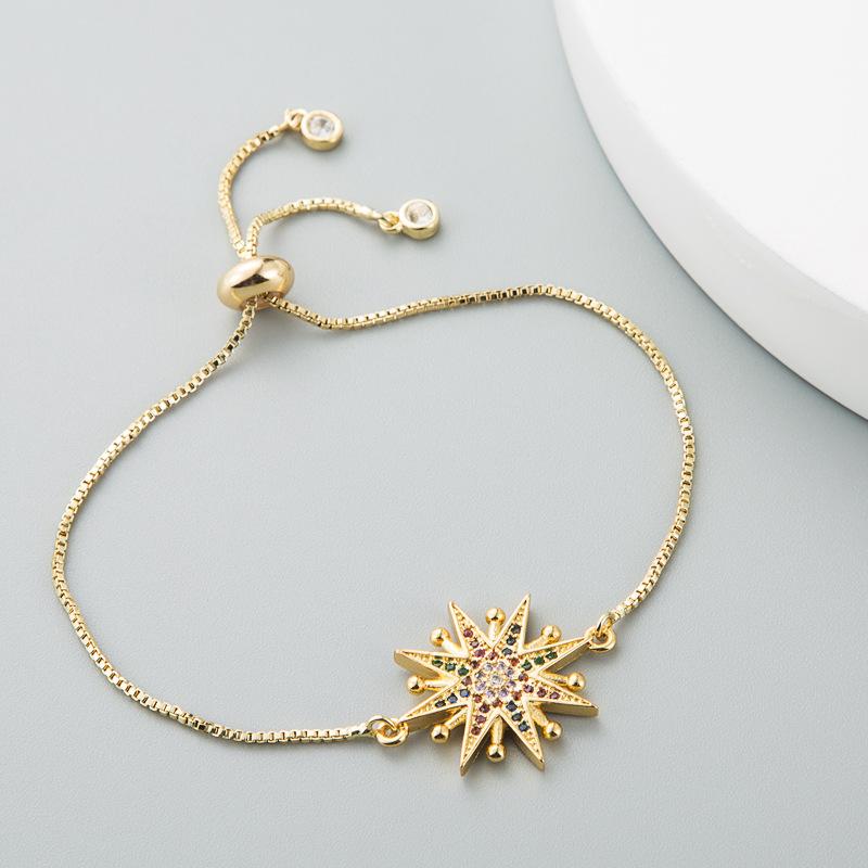 Copper Bracelet Sun Flower Rainbow Zircon Ladies Ins Pull Bracelet NHLN187654
