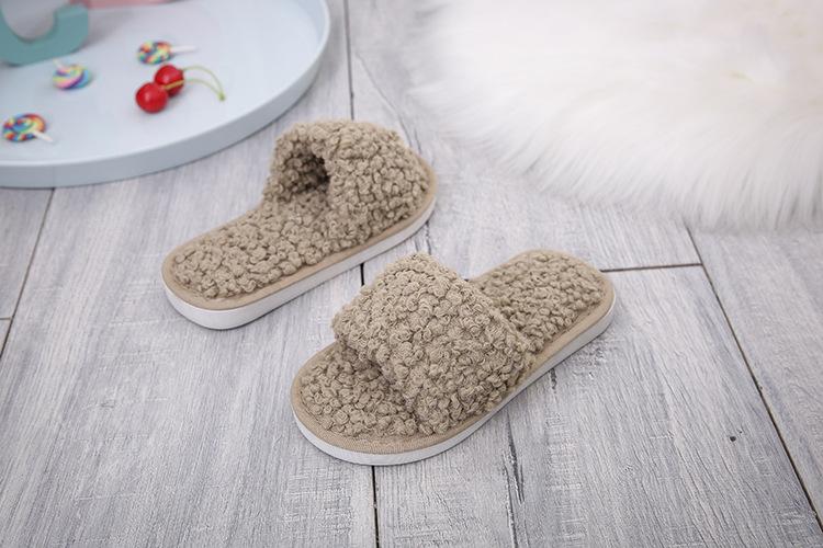 plush women lamb wool cotton slippers  NSPE10034