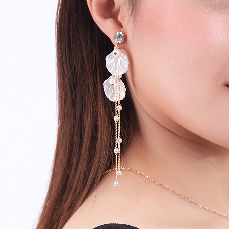 Womens Cold wind shell beads Rhinestone Alloy Earrings NHQD126665