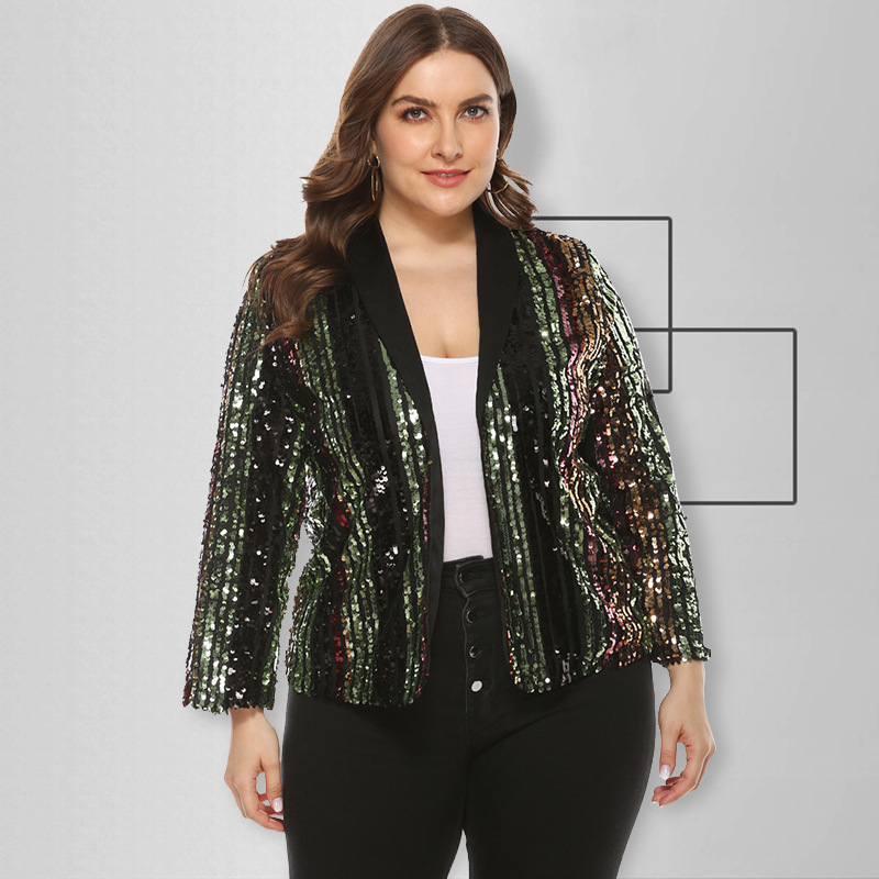 Womens Black Shiny Sequins Loose Fit Jackets Girls Casual Clubwear Coats M-5XL